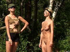 Military lesdom bitch exhausts a nude soldier