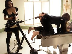 Sandra Romain plays kinky medical games with her latex fuck slave